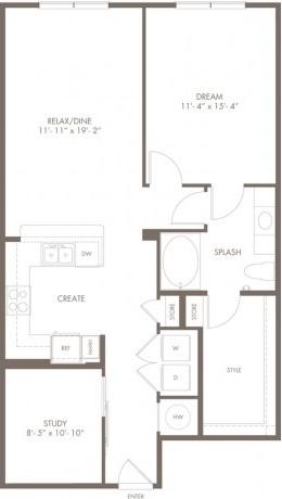 Modera A2S - 1bedroom + Den + 1bathroom - 998 sqft floorplan