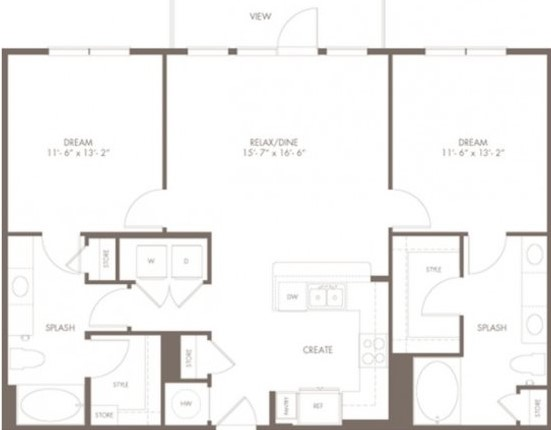 Modera B2 - 2bedroom + 2bathroom - 1169 sqft floorplan